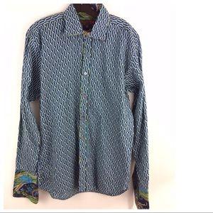 TED BAKER London button pattern Shirt 16 40.5